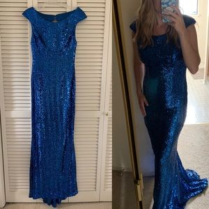 Faviana Dresses - Sz 10 Faviana Glamour Blue Sequin Open Back Gown